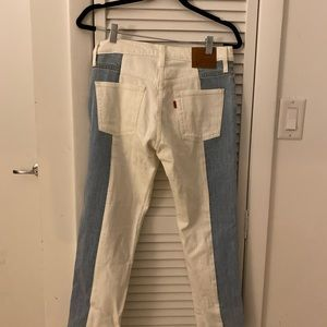 Levis 501 cropped two tone denim jeans